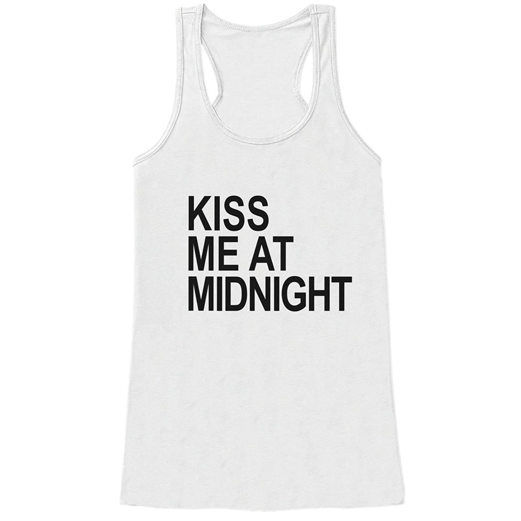 7 ate 9 Apparel Women's Kiss Me at Midnight New Years Tank Top