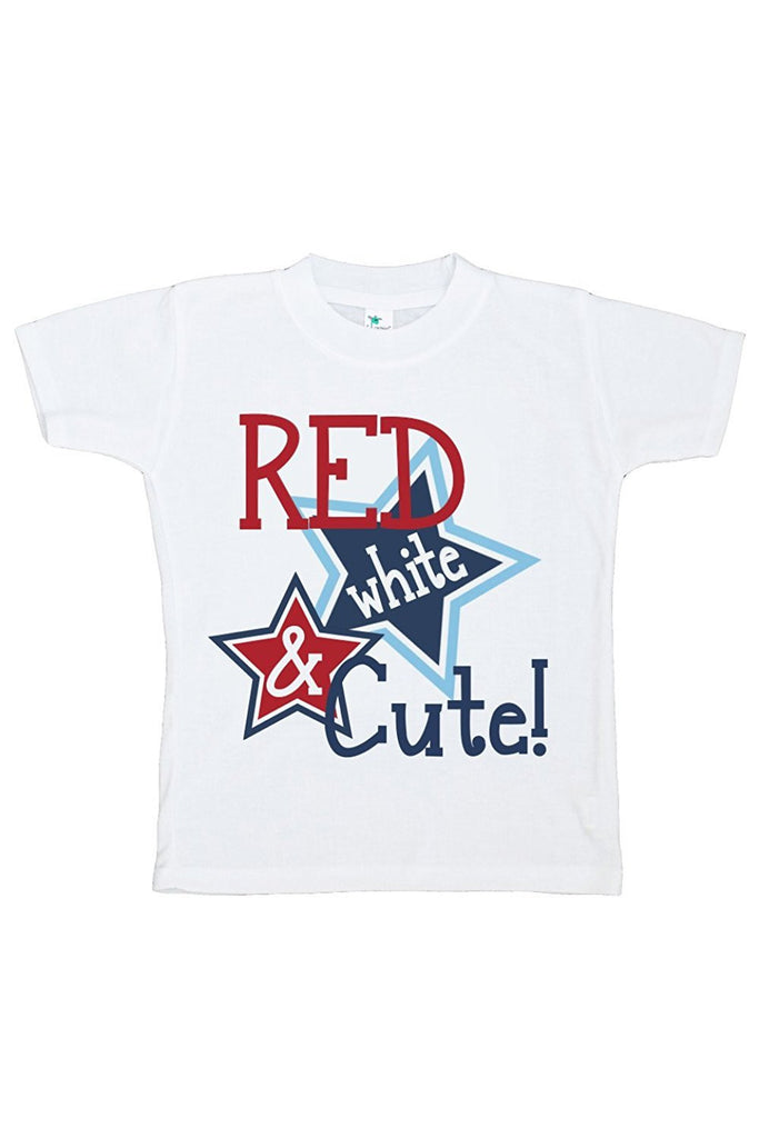 7 ate 9 Apparel Girls' Red White and Cute 4th of July T-shirt