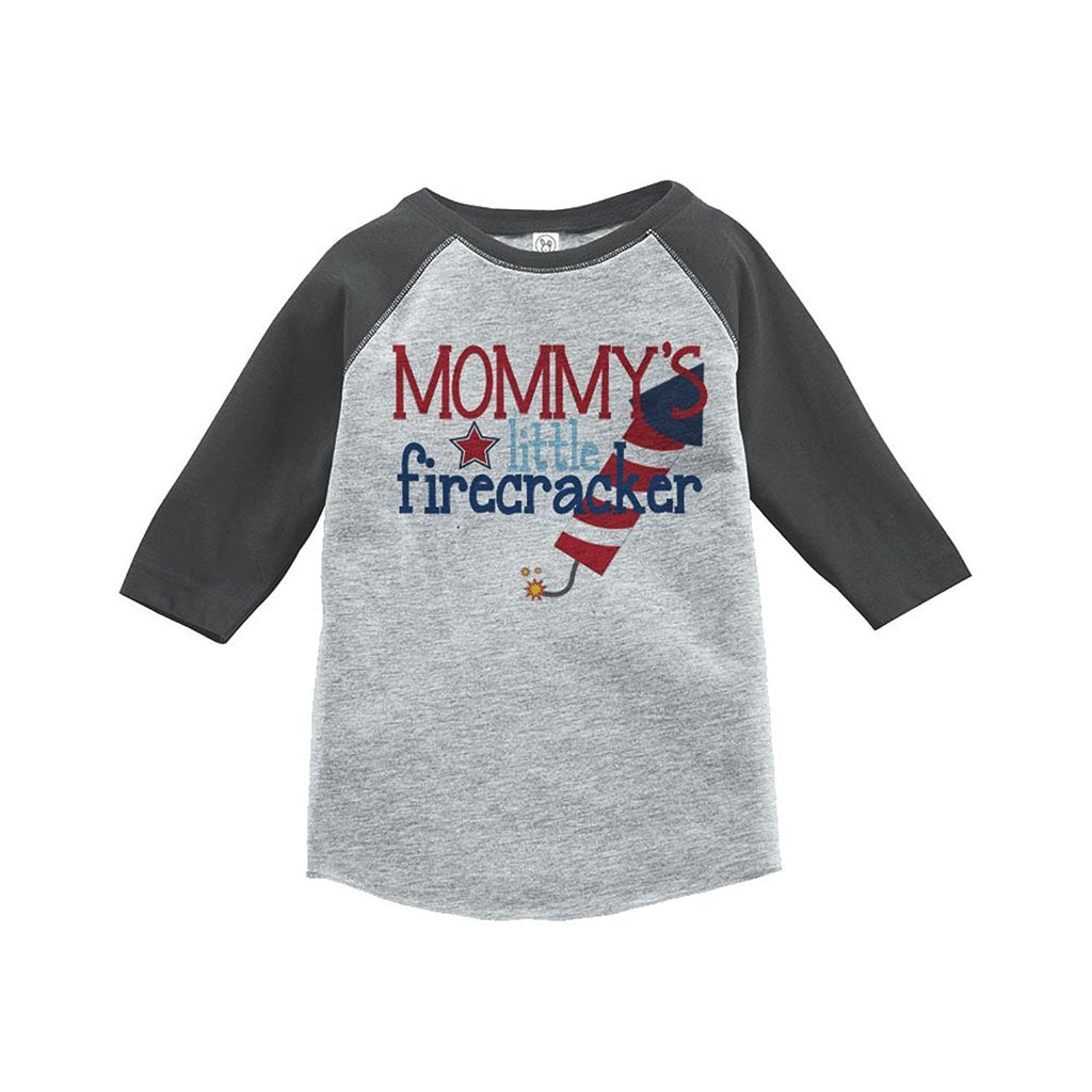 7 ate 9 Apparel Mommy's Firecracker 4th of July Raglan Tee