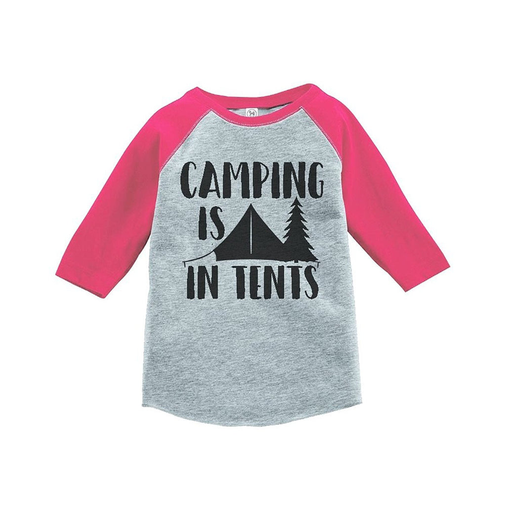 7 ate 9 Apparel Girl's Camping is in Tents Outdoors Raglan Tee
