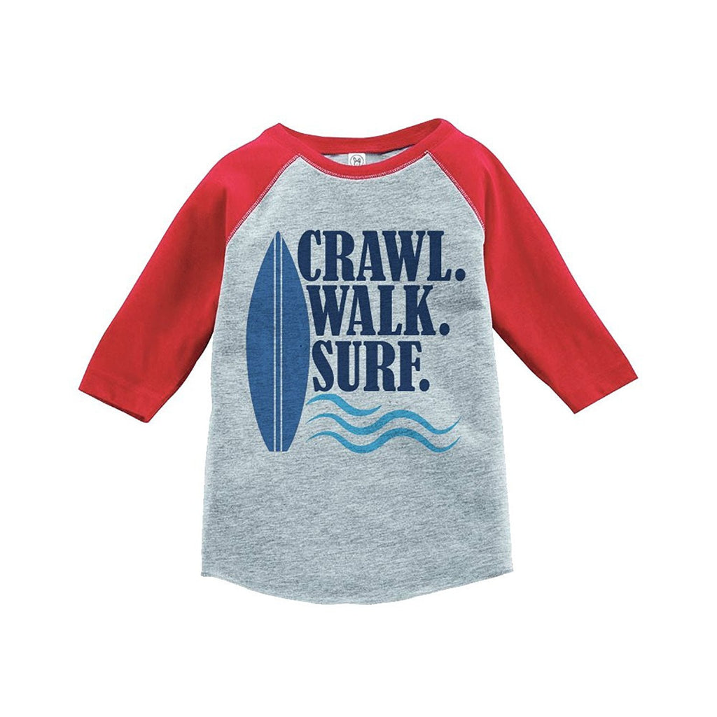 7 ate 9 Apparel Crawl Walk Surf Summer Raglan Tee