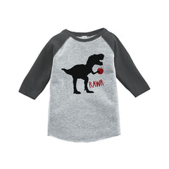 7 ate 9 Apparel Kids Dinosaur School Grey Baseball Tee