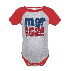7 ate 9 Apparel Merica 4th of July Raglan Onepiece