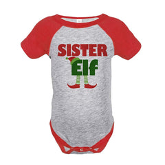 7 ate 9 Apparel Baby's Sister Elf Christmas Onepiece Red
