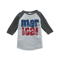 7 ate 9 Apparel Merica 4th of July Raglan Tee