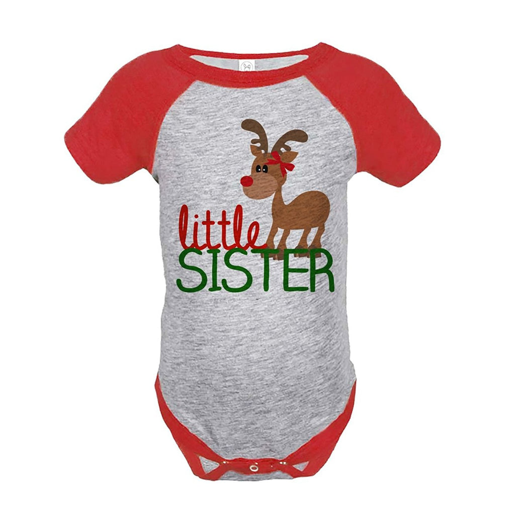 7 ate 9 Apparel Baby's Little Sister Christmas Onepiece Red