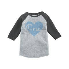 7 ate 9 Apparel Boy's First Birthday Vintage Baseball Tee 2T Grey and Blue