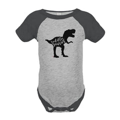 7 ate 9 Apparel Baby's Dinosaur Toddlersaurus Grey Onepiece
