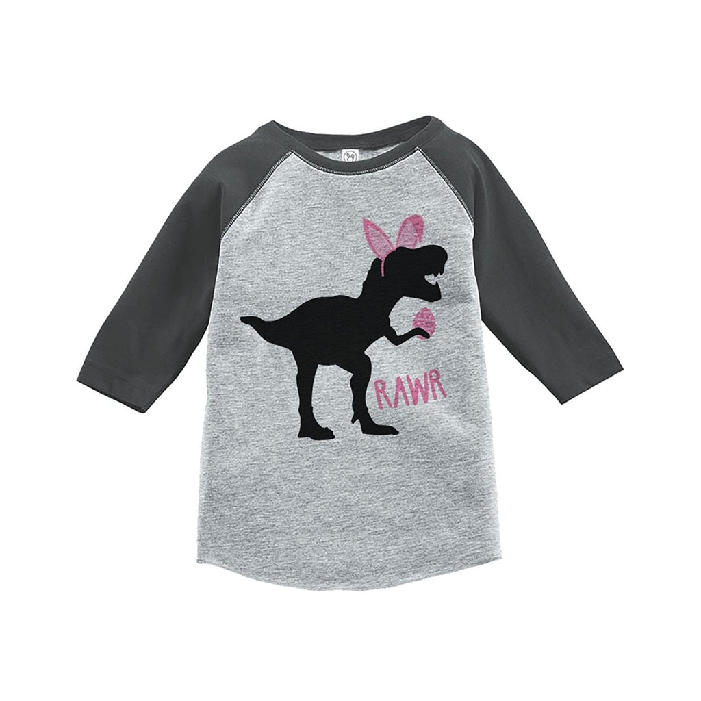 7 ate 9 Apparel Baby Girls Dinosaur Happy Easter Grey Raglan