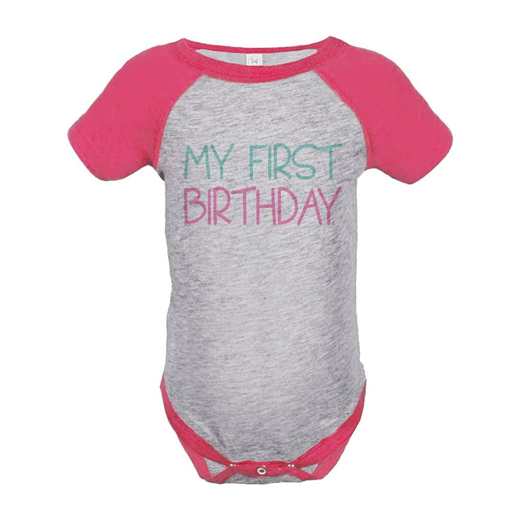 7 ate 9 Apparel Girl's My First Birthday Vintage Baseball Tee Onepiece