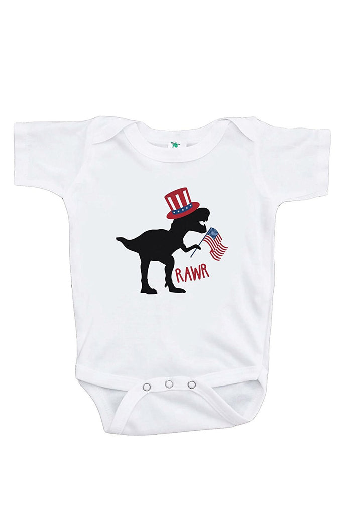 7 ate 9 Apparel Kids Dinosaur 4th of July Onepiece