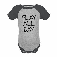 7 ate 9 Apparel Funny Kids Play All Day Baseball Onepiece Grey