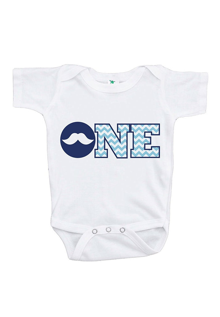 7 ate 9 Apparel Baby Boy's ONE Mustache First Birthday Onepiece Outfit