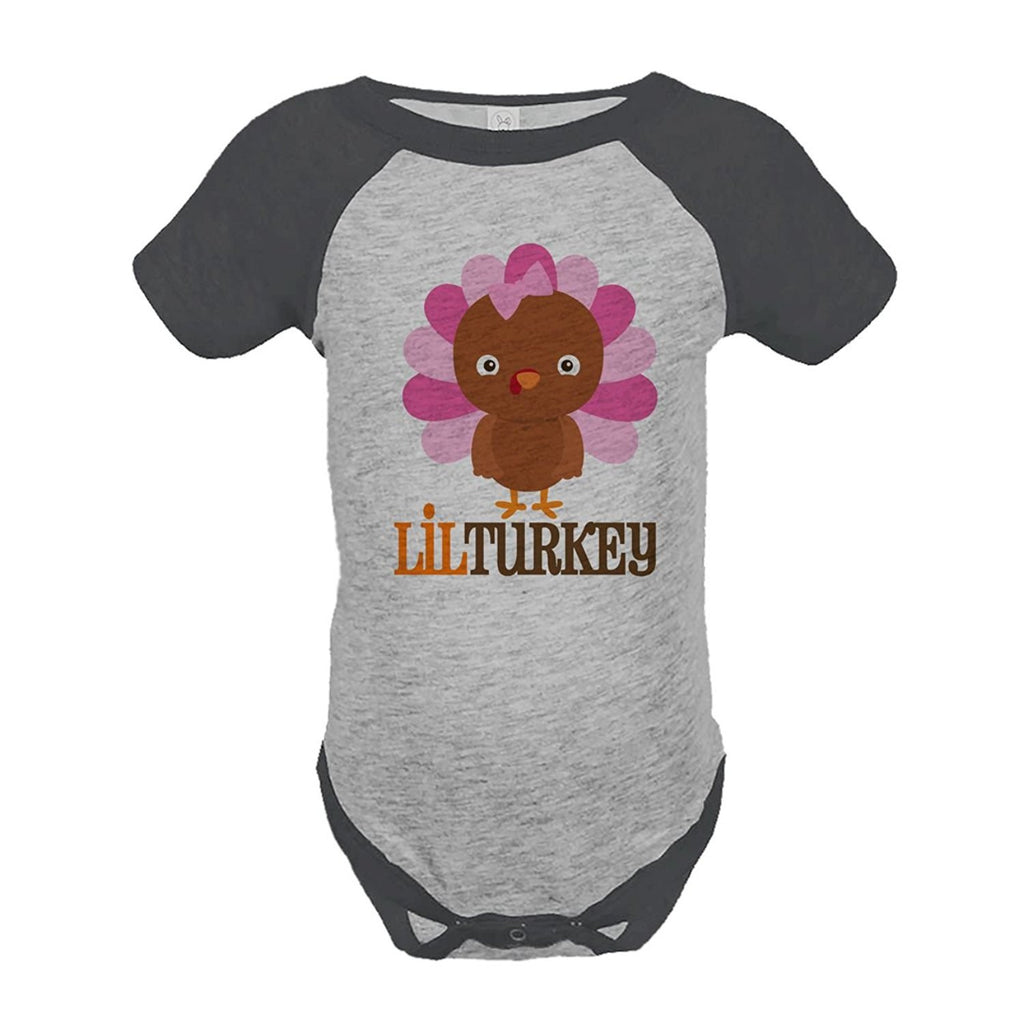7 ate 9 Apparel Baby Girl's Little Turkey Thanksgiving Onepiece