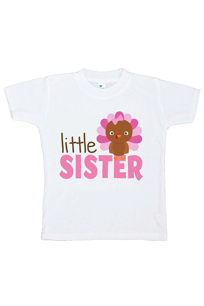 7 ate 9 Apparel Baby Girl's Little Sister Thanksgiving Tshirt