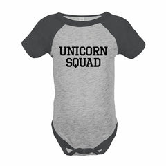 7 ate 9 Apparel Funny Kids Unicorn Squad Baseball Onepiece Grey