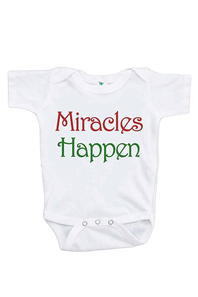 7 ate 9 Apparel Baby's Miracles Happen Christmas Onepiece