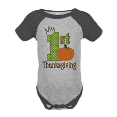 7 ate 9 Apparel Baby's 1st Thanksgiving Onepiece