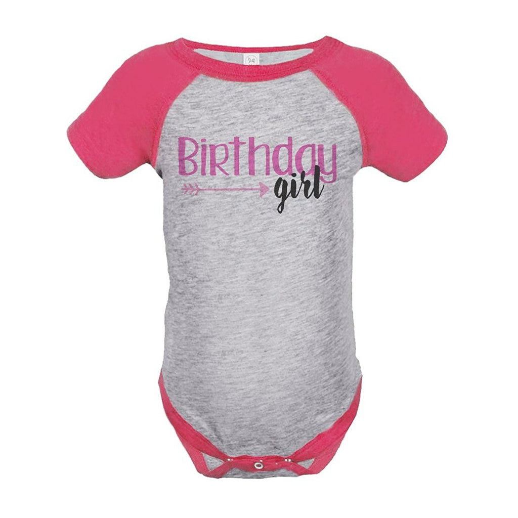 7 ate 9 Apparel Girl's First Birthday Arrows Vintage Baseball Tee Onepiece