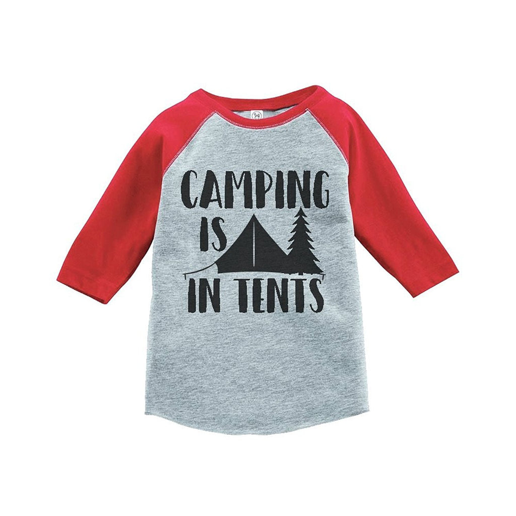 7 ate 9 Apparel Unisex Camping is in Tents Outdoors Raglan Tee