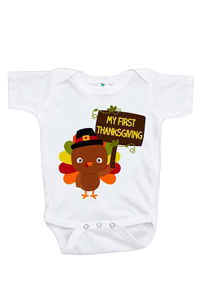 7 ate 9 Apparel Baby Boy's My First Thanksgiving Turkey Onepiece