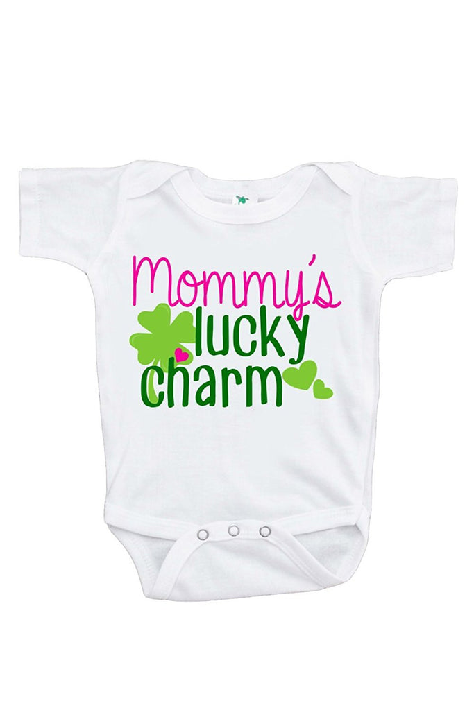 7 ate 9 Apparel Unisex Baby's Novelty Mommy's Lucky Charm St. Patricks Day Onepiece