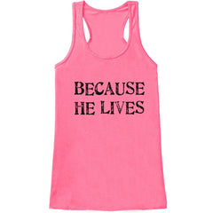 7 ate 9 Apparel Womens He Lives Religious Easter Tank Top