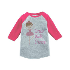 7 ate 9 Apparel Girls' Novelty Ballerina Vintage Baseball Tee