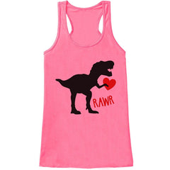 7 ate 9 Apparel Womens Dinosaur Valentine's Day Tank Top