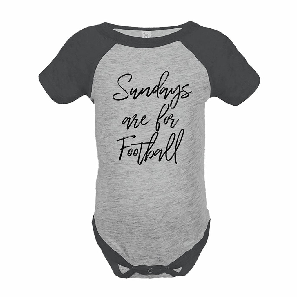 7 ate 9 Apparel Funny Kids Football Sunday Baseball Onepiece Grey