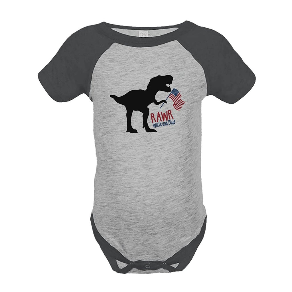 7 ate 9 Apparel Kids Dinosaur 4th of July Grey Onepiece