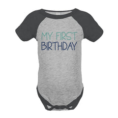 7 ate 9 Apparel Boy's My First Birthday Vintage Baseball Tee Onepiece