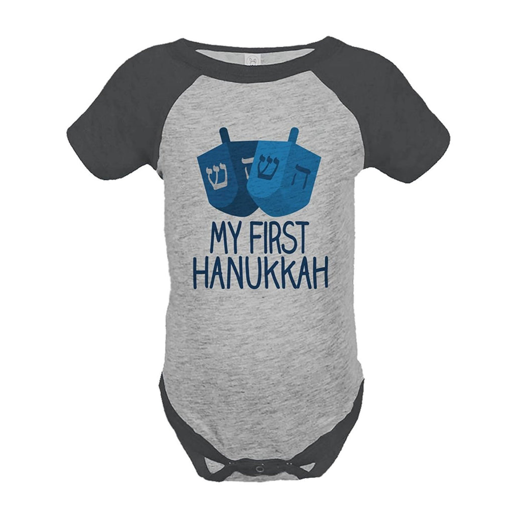 7 ate 9 Apparel Baby's My First Hanukkah Onepiece Grey