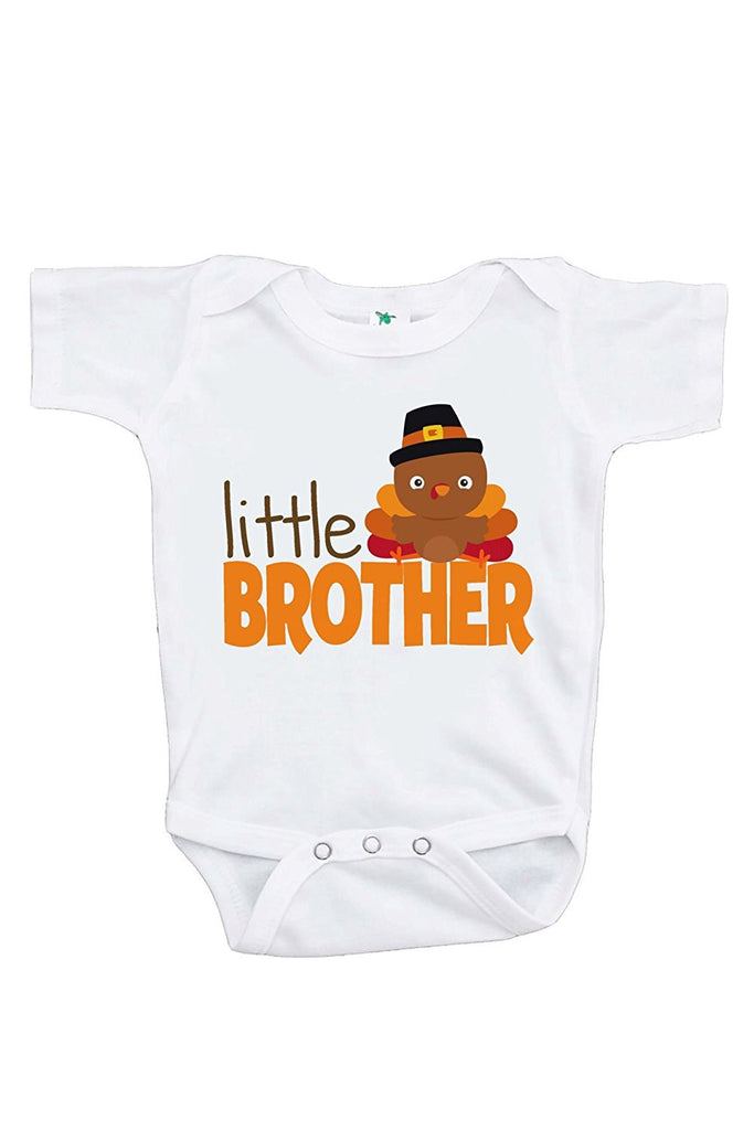7 ate 9 Apparel Baby Boy's Little Brother Thanksgiving Onepiece
