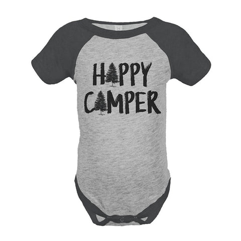 Custom Party Shop Unisex Happy Camper Outdoors Raglan Onepiece