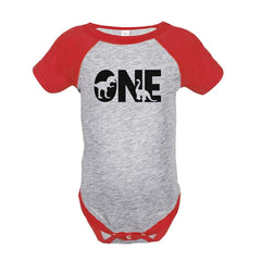 7 ate 9 Apparel Baby's Dinosaur One Birthday Red Onepiece