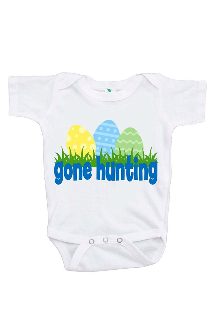 7 ate 9 Apparel Baby Boy's Gone Hunting Novelty Easter Onepiece