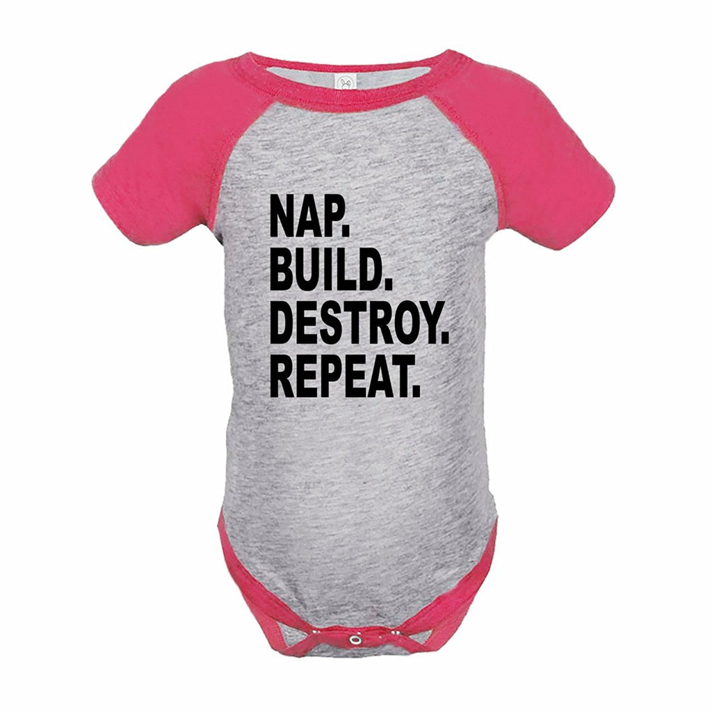 7 ate 9 Apparel Funny Kids Nap. Build. Destroy. Baseball Onepiece Pink