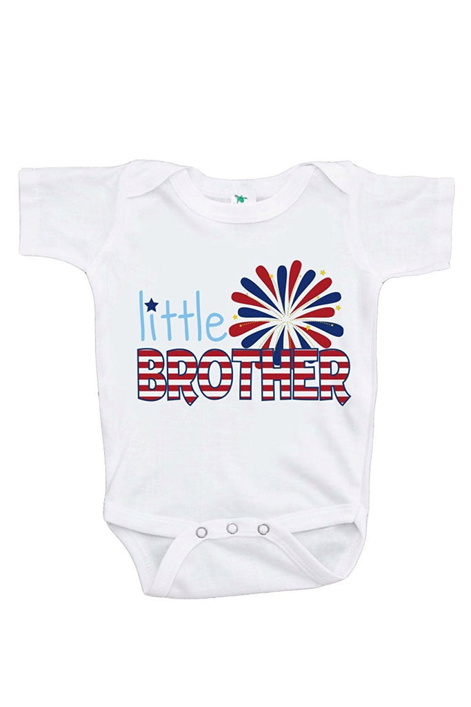 7 ate 9 Apparel Baby Boy's Little Brother 4th of July Onepiece