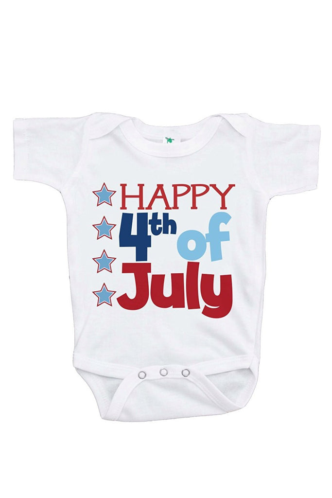 7 ate 9 Apparel Baby's Happy Fourth 4th of July Onepiece
