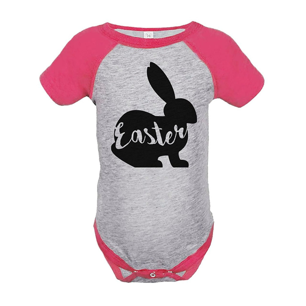 7 ate 9 Apparel Baby's Easter Bunny Happy Easter Pink Onepiece