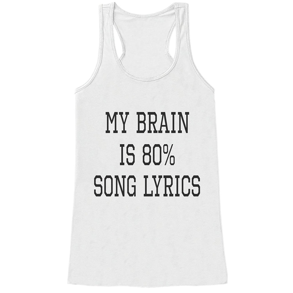 7 ate 9 Apparel Womens My Brain Is Song Lyrics Funny Tank Top