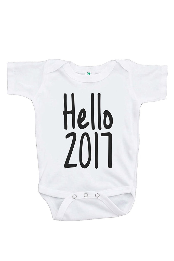 7 ate 9 Apparel Baby's Hello 2017 Happy New Year Onepiece