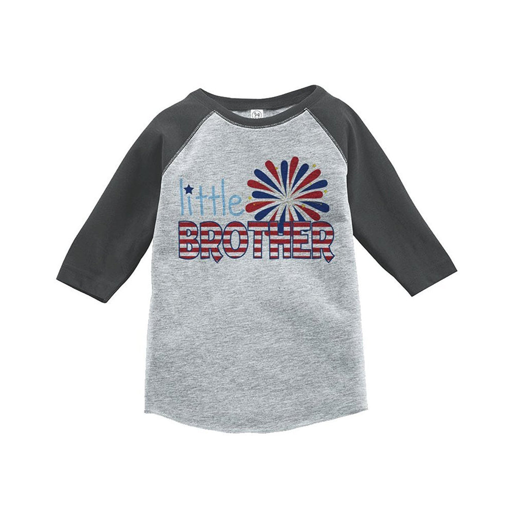 7 ate 9 Apparel Little Brother 4th of July Raglan Tee