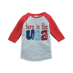 7 ate 9 Apparel Born in the USA 4th of July Raglan Tee