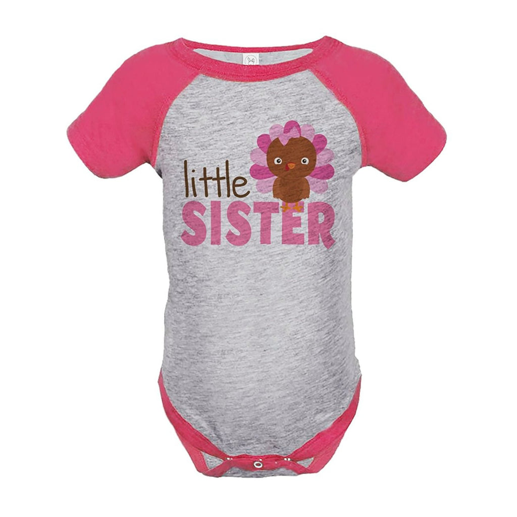 7 ate 9 Apparel Baby Girl's Little Sister Thanksgiving Onepiece