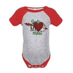 7 ate 9 Apparel Baby's Santa Loves Me Christmas Onepiece Red