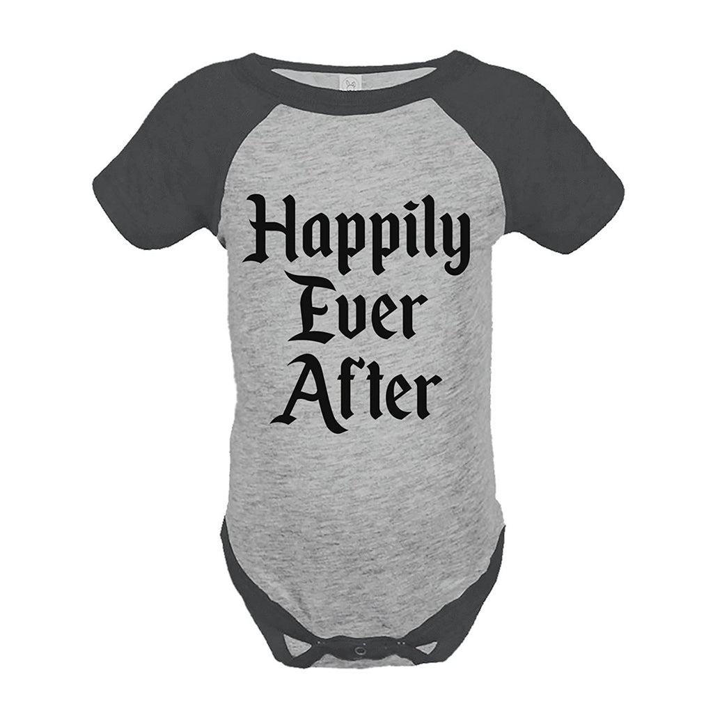 7 ate 9 Apparel Girl's Happily Ever After Wedding Grey Raglan Onepiece