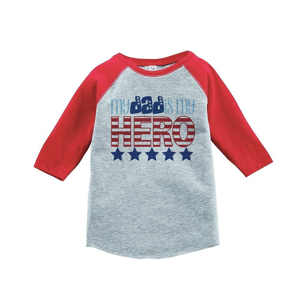 7 ate 9 Apparel Daddy Is My Hero 4th of July Raglan Tee