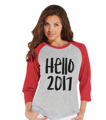 7 ate 9 Apparel Women's Hello 2017 New Years Raglan Shirt